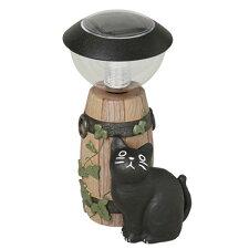 ガーデンオーナメント ソーラーライト 猫 バーレル 小