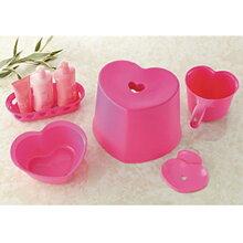 ハート 風呂イス 5点セット ピンク 高さ26.5cm