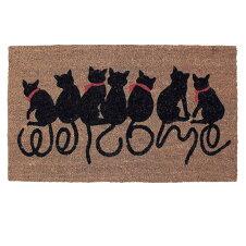 玄関マット 屋外 泥おとし コイヤーマット WELCOME CAT