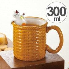 マグカップ 300ml バスケット 三毛猫 スプーン付き コップ マグ 磁器 猫