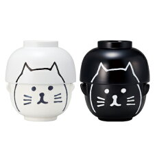 黒ねこと白ねこの汁椀&茶碗セット ペア食器2組セット