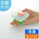 保存容器プルーアルファ220mlプラスチック製5個セット ( プラスチック保存容器 角型 スクエア 冷凍OK 食洗機対応 冷凍保存 食品保存 電子レンジ対応 積み重ね )