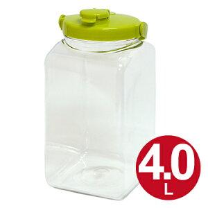 果実酒ビン 保存容器 角型 4L プラスチック製 ( 果実酒 酵素 保存瓶 保存ビン びん スナップウエア 梅酒 ビン 瓶 ストッカー 4リットル )