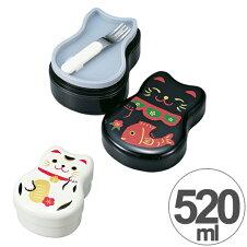 お弁当箱 2段 HAKOYA ねこしぐさ 丸子二段弁当 520ml フォーク付き シール蓋付き 入子式 日本製