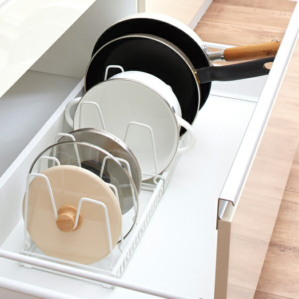 フライパン収納 伸縮式フライパン&鍋ブタスタンド ファビエ キッチン収納 ( フライパンスタンド フライパンラック スライドラック 鍋蓋スタンド 伸縮 整理棚 収納スタンド 仕切り 収納ラック スチール製 ホワイト 白 )