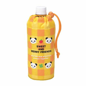 ペットボトルカバー 500ml用 るんるんパンダ チェックイエロー ( ペットボトルケース 0.5L チェック柄 ボトルカバー 保温 保冷 )