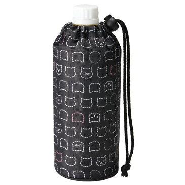 ペットボトルカバー 500ml用 シンプルキャット ( ペットボトルケース ペットボトルホルダー 保温 保冷 0.5L ボトルカバー ボトルホルダー ストラップ付 ねこ ネコ 猫 黒 )