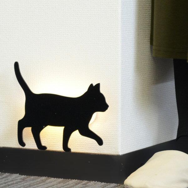 LEDライト That's Light! CAT WALL LIGHT てくてく ( 足元灯 フットライト LED 猫 ウォールライト ねこ おしゃれ センサーライト 屋内 電池式 ウォールステッカー 光る ネコ センサー 壁 キャット )