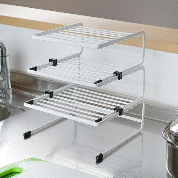ディッシュラック3個組みBlanceブランス(食器ラックディッシュスタンド皿スタンド皿収納食器収納食器整理お皿立て食器立て3段食器棚収納収納用品白)
