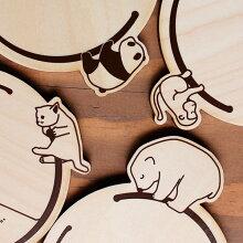 コースター 木製 動物 リング 合板 コップ敷き 日本製