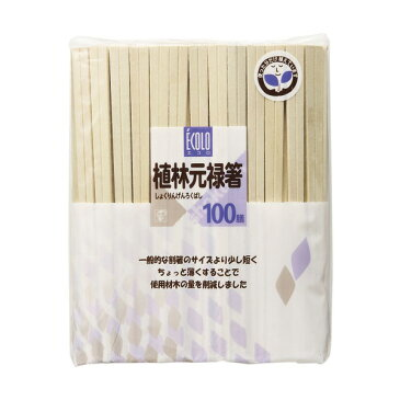 割り箸 エコロ植林元禄箸裸 100膳 ( 割りばし お弁当 わりばし 箸 お箸 セット 使い捨て )