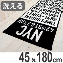 キッチンマット 180 45×180cm 洗える 滑り止め タイムズスクエア 英字 インテリアマット