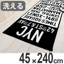 キッチンマット 240 45×240cm 洗える 滑り止め タイムズスクエア 英字 インテリアマット