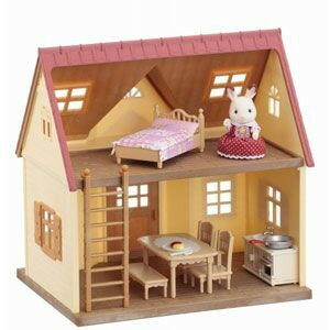 <新品>ショコラウサギの女の子、お家、家具が入ったセットです。シルバニアファミリー はじ...