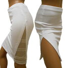 メッシュ肌透けスパンコールテープ使いひざ丈スカート