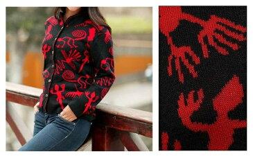 ペルーアルパカWOOL カーディガン 「ナスカの祝祭」 ウール 赤/ レディース メンズ 薄手 ウール ニット ワンピース ブラウン ジャケット コート 古代インカ帝国 マチュ ピチュ アルパカ ナスカ