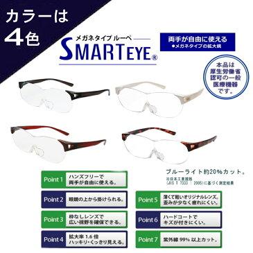 拡大鏡 ルーペ メガネ おしゃれ スマートアイ SMARTEYE 眼鏡 メガネ型ルーペ 拡大 鏡 ブルーライトカット 2色 男女兼用 おすすめ 人気 プレゼント SE-001/SE-002 人気 クリスマス