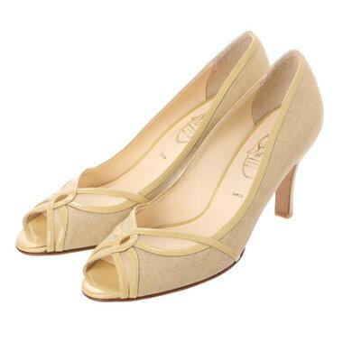 【アウトレット】銀座ワシントン ワシントン靴店 SALON DE WASHINGTON 384-S7100 チュール&麻素材の夏パンプス (ベージュ)