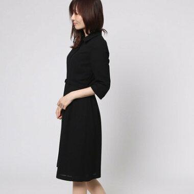 ブラックギャラリー BLACK GALLERY シャツ風ベルト付きサマーフォーマルワンピース (ブラック) [ブラックフォーマル 夏用 喪服 礼服]