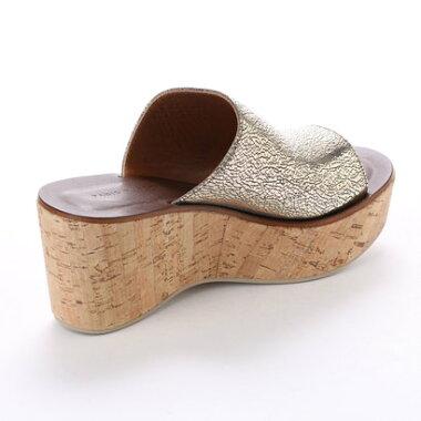 【アウトレット】glitter ファビオルスコーニ Fabio Rusconi 本革Made in Italyコルクウェッジサンダル (ブラウン)