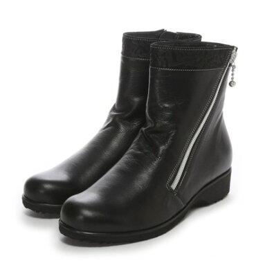 【アウトレット】ミッシー デ ミッシー missy des missy 3.5cmソフトレザーショートブーツ(ブラック)