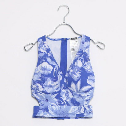 レディースファッション, 水着  GUESS SL JONI SCUBA-KNIT HALTER TOP COBALT FLOWERS