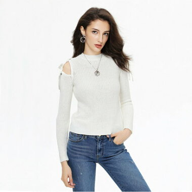 【アウトレット】ゲス GUESS L/S KARIN SHOULDER TIE SWEATER (WHISPER WHITE)