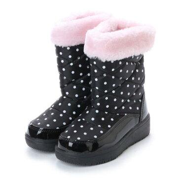 エニーウォーク Anywalk 防寒ブーツ ジュニア キッズ ガールズ 女の子用 ファー付きドット柄 aw_17991 (BLACK/PINK)