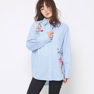 【アウトレット】ゲス GUESS FLOWER EMBROIDERY STRIPE SHIRT (BLUE)