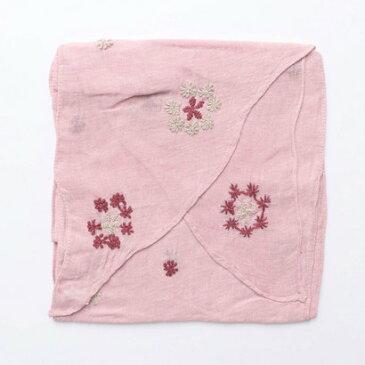 【アウトレット】カンカン KANKAN リネンフラワー手刺繍バイアスミニショール (ピンク)