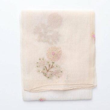 【アウトレット】カンカン KANKAN コットンシルクビーズxゴールド刺繍ショール (ベージュ)