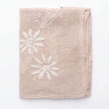 【アウトレット】カンカン KANKAN リネンフラワー手刺繍ミニショール (ピンク)