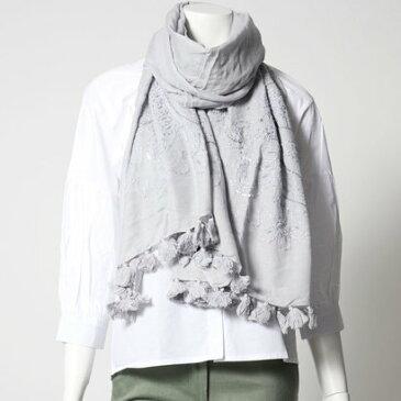 リネーム Rename ポンポン付き 更紗刺繍 コットン モダール ストール (ブルーグレイ)