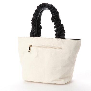 【アウトレット】パスディス PASSE-DIX フリルハンドルパール付きトートバッグ (オフホワイト)