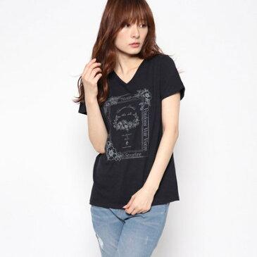 コムサイズム COMME CA ISM フラワー プリントTシャツ (ネイビー)