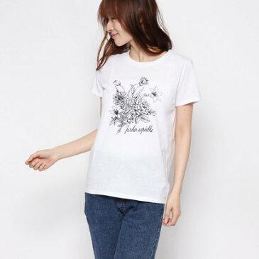 コムサイズム COMME CA ISM フラワー プリントTシャツ (ホワイト)