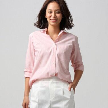 アンタイトル UNTITLED [L]【洗える】フェリーチェストライプシャツ (ピンク)