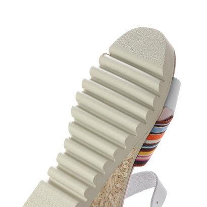 【アウトレット】glitter ピラール モネ PILAR MONET スペイン製 本革 軽量 ストライプクロスサンダル (シロ)