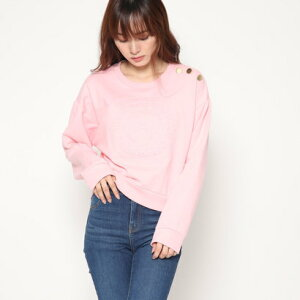 ゲス GUESS SHORT EMBOSSED QUATTRO G LOGO SWEAT (BELOVED PINK)