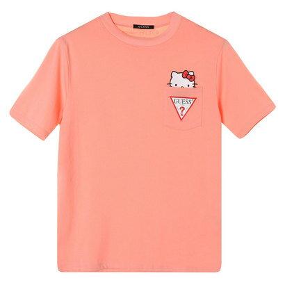 トップス, Tシャツ・カットソー GUESS x Hello Kitty TRIANGLE LOGO POCKET TEE PINK ( T)
