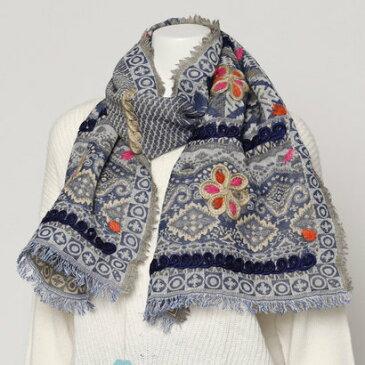 カンカン KANKAN ウールコットンフラワー刺繍ミニショール (ブルー)
