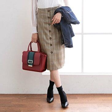 ユメテンボウ 夢展望 フロントボタンチェックタイトスカート (ベージュチェック)