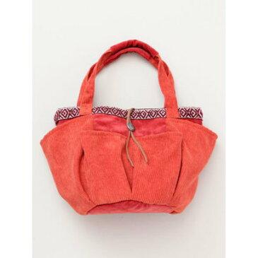 【チャイハネ】コーデュロイミニトートバッグ オレンジ