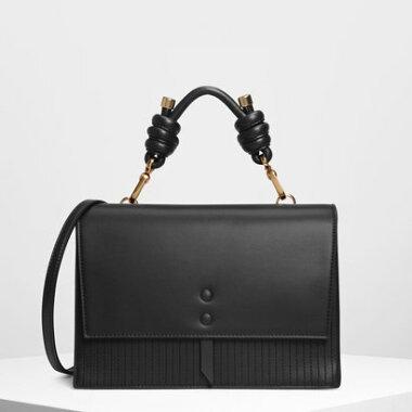 285aa3b7cc1c ノッテドディテール ハンドルバッグ / Knotted Detail Handle Bag (Black) ...