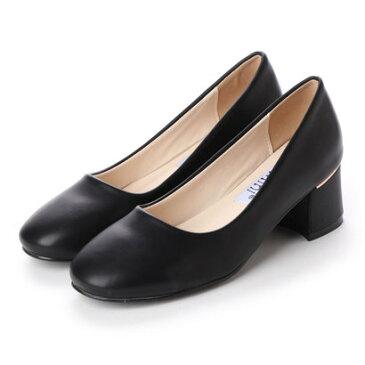 ジェミニ GeMini チャンキーヒール パンプス 痛くない 脱げない 結婚式 太ヒール ゴールド フォーマル 靴 6103 (PuBlack)