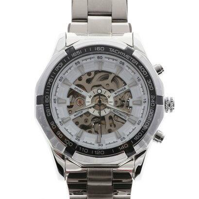 スマイルプロジェクト SMILE PROJECT 自動巻き腕時計 重厚なビッグケース スケルトン シンプル 機械式腕時計 ATW025-WHT (WHT)