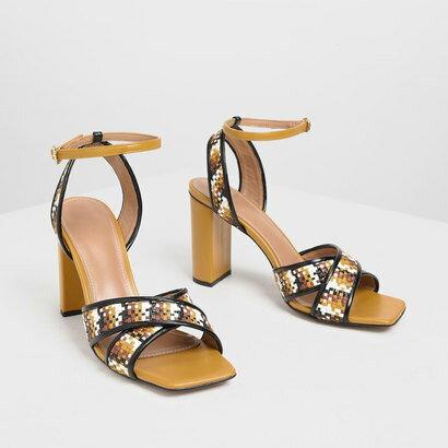 ウェーブディテール ヒールサンダル / Weave Detail Heeled Sandals (Brown)