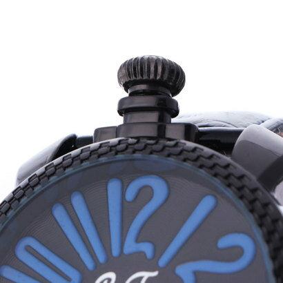 イタリコ ITALICO 【専用ケース付き】トップリューズ式ビッグフェイス腕時計 フレームチェック47mm (B(ブルー/ブラック))
