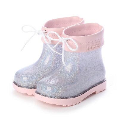 靴, レインシューズ・長靴  melissa MINI MELISSA RAIN BOOT BB PINKCLEAR GLITTER