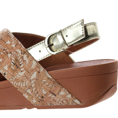 【アウトレット】フィットフロップ FitFlop LULU CROSS BACK-STRAP SANDALS - MIRROR / CORK (Cork/Gold Mirror)